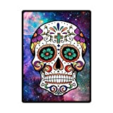 Custom Galaxy Nebula Cool Floral Sugar Skull art Custom Fleece Blanket 58'' x 80'' (Large)