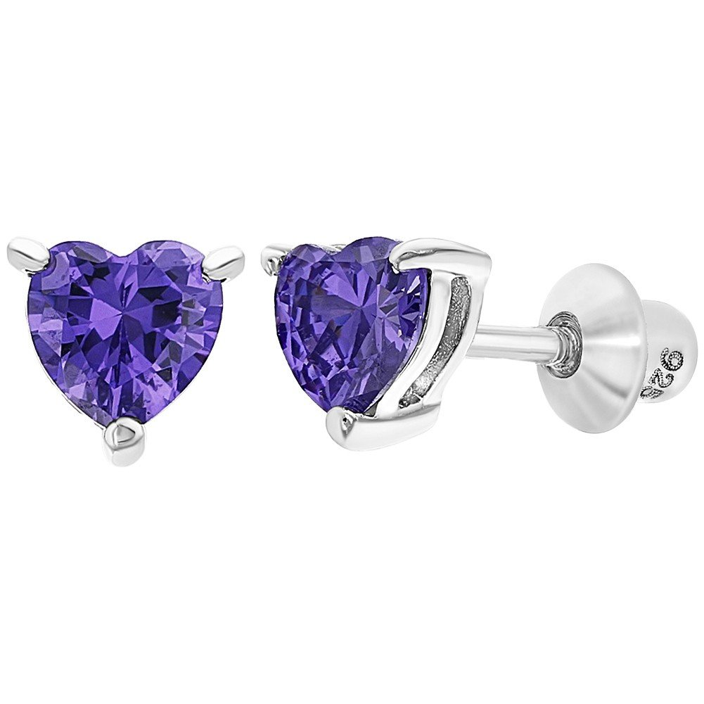 925 Sterling Silver Heart Baby Earrings Screw Back Girls Toddlers CZ In Season Jewelry SS-03-00285
