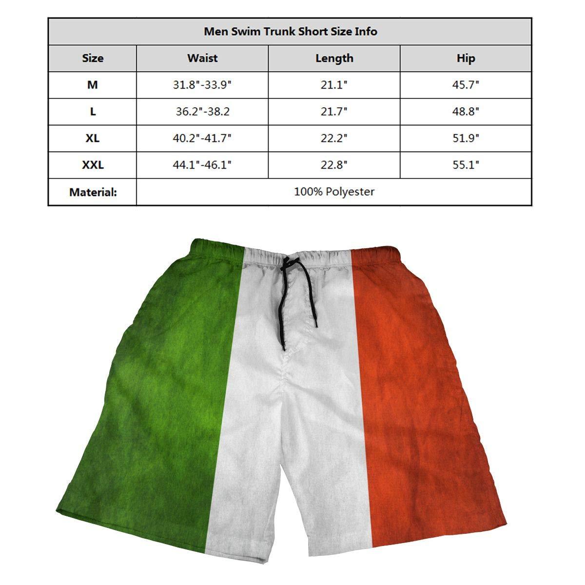 Ling Lake Italian Flag Mens Beach Shorts Board Shorts Summer Swim Trunks
