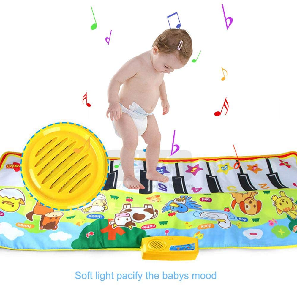 lesgos Piano Mat, Kids Colorful Electronic Dance Music Mat Toy, 19 Keys Educational Keyboard Playmat Musical Carpet Blanket for 3-6 Year Old Toddler Girls Boys by lesgos (Image #5)