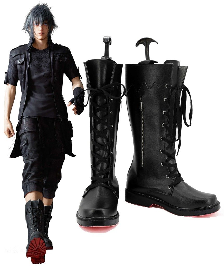 Final Fantasy XV Noctis Lucis Caelum Cosplay Shoes Boots Custom Made Red Outsole