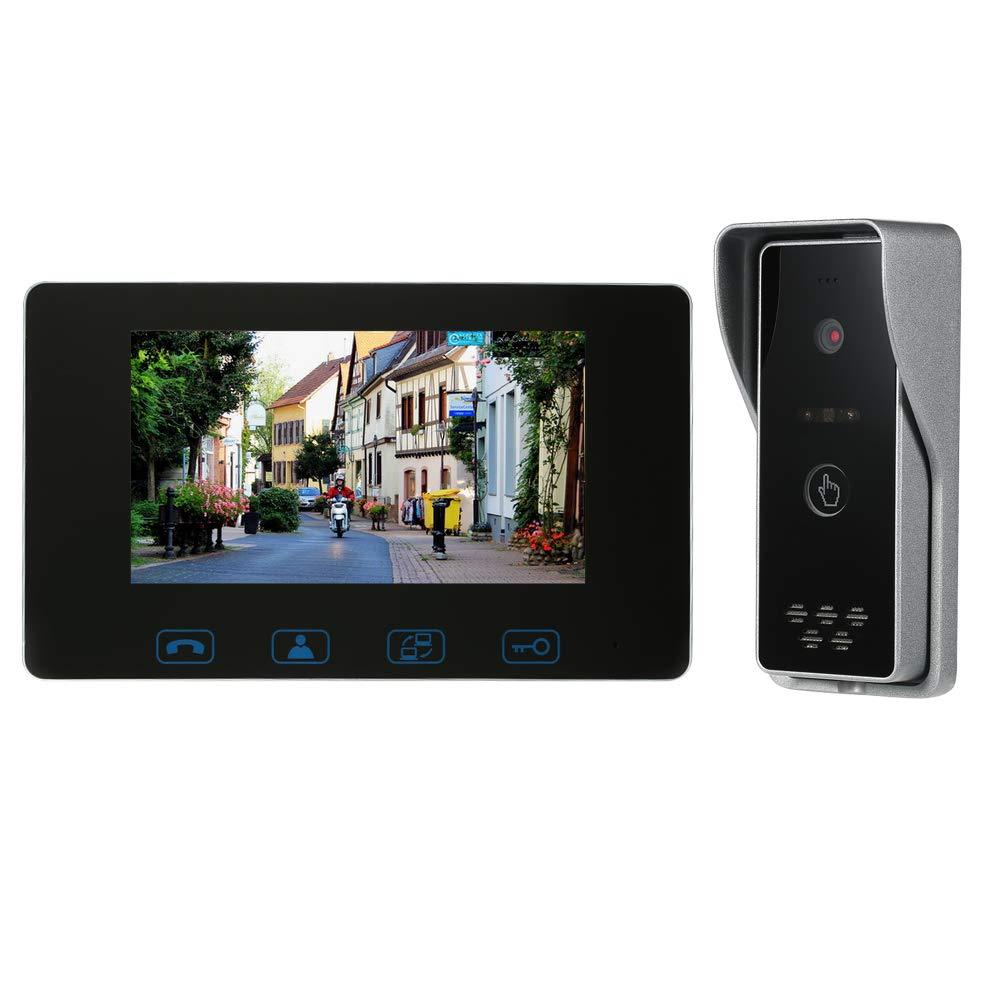OWSOO 7 Videoportero Cableado Intercomunicador de V/ídeo Sistema de Interfono Soporte Desbloqueo de Monitoreo Intercomunicador de Doble V/ía Impermeable 16 Tonos Volumen//Brillo//Contraste Ajustable