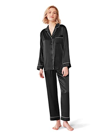 b9be81826 SIORO Womens Silk Satin Pajamas Set Sleepwear Lightweught Loungewear Button  Down Pijamas Long Sets,Black