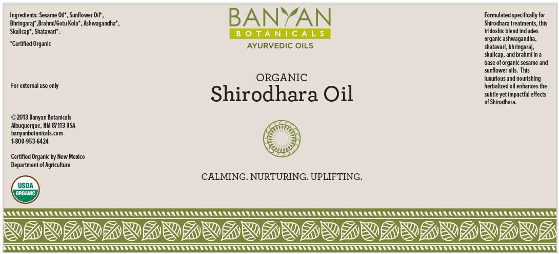 Amazon Com Banyan Botanicals Organic Shirodhara Oil Usda Certified Organic 34 Oz Calming Nurturing Uplifting A Tridoshic Blend That Clears And Calms The Mind Health Personal Care