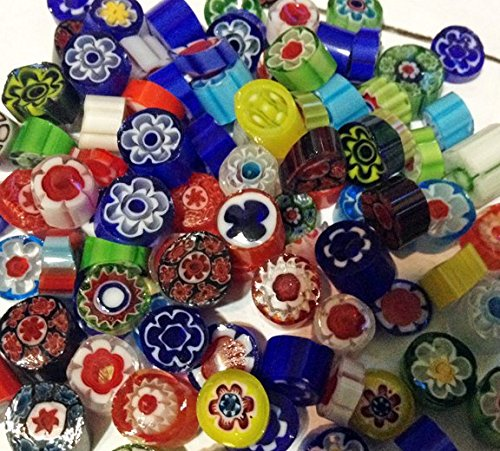 Premium 1-Ounce Variety Color Millefiori 90 COE Fusible Glass, Assorted Colors - Millefiori Mosaic Art Glass