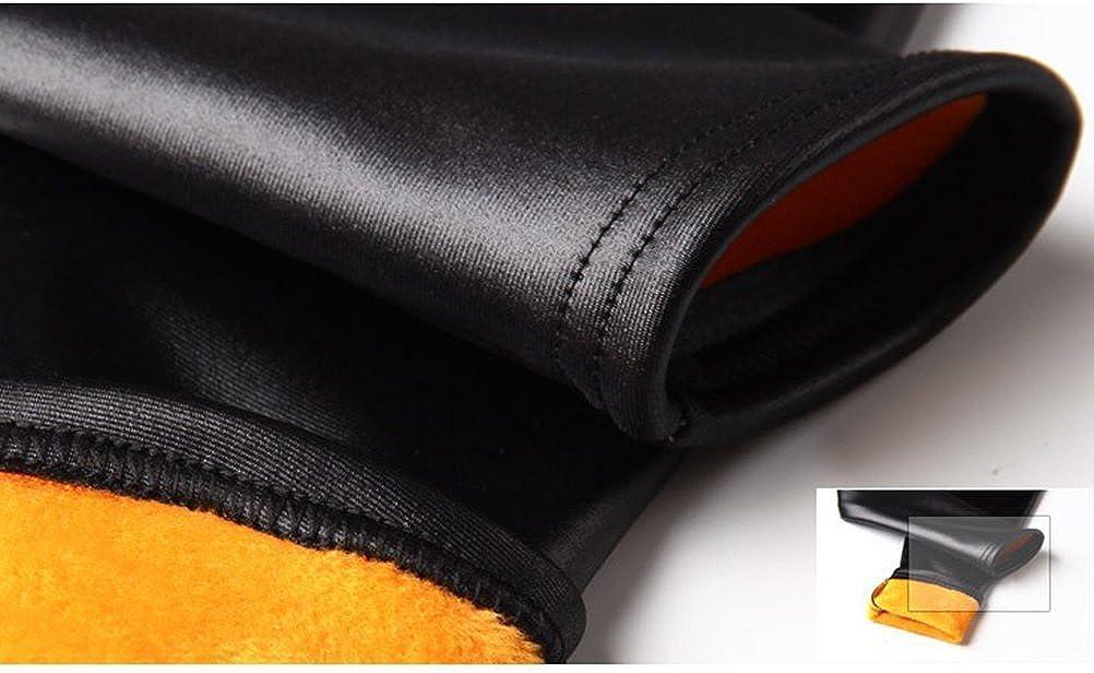TENDYCOCO Enfants Leggings Hiver Pantalon Chaud /Épais Velours Faux Cuir Leggings Pantalon Mince pour Les Filles 140CM