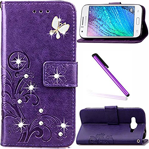Galaxy J1 Ace Case LEECOCO Bling Crystal Diamonds Lucky Clover Floral with Card Cash Slots Wrist Strap Flip Kicktand PU Leather Wallet Case Cover for Samsung Galaxy J1 Ace Diamond - Flip Ace Galaxy Samsung Cover