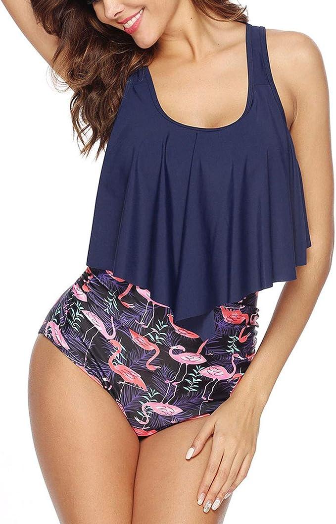 Bequemer Laden Damen Bikini Sets R/üschen Badeanzug Zweiteilige Bademode mit Hohe Taille Bikinihose Strandmode