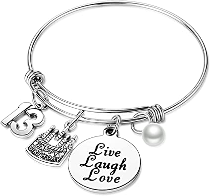 Amazon Com Birthday Gifts For Her Expandable Bangle Birthday Bracelets For Women Charm Bracelet Happy Birthday Jewelry Gift Ideas 13th Birthday Clothing