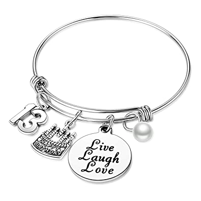 Nimteve Birthday Gifts For Her Expandable Bangle Bracelets Women Charm Bracelet Happy Jewelry Gift Ideas