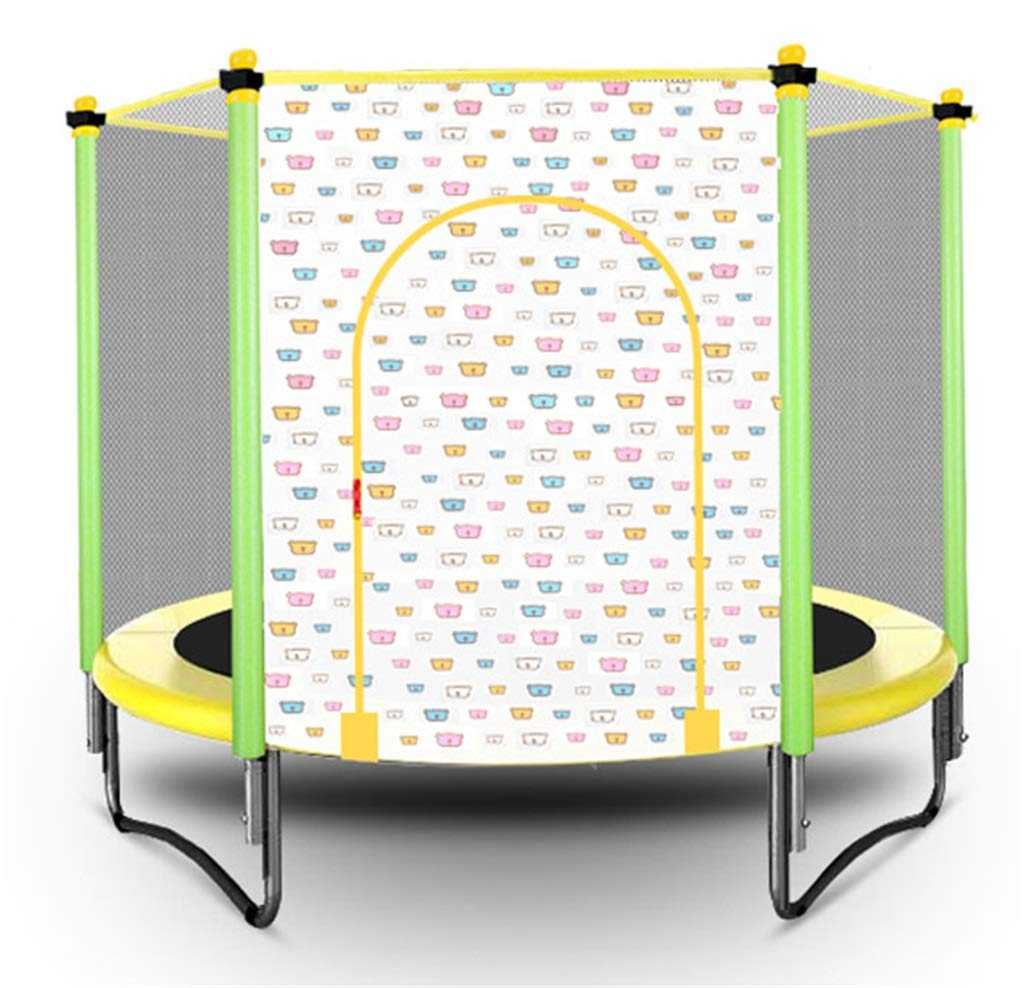 LKFSNGB Foldable Children's Trampoline Indoor and Outdoor Mini Trampoline Bungee Jumping with Protective Net Trampoline Easy to Install - Pink/Yellow by LKFSNGB