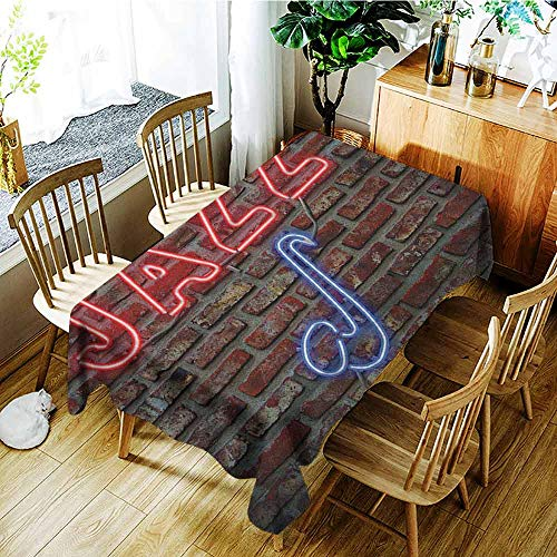 Imperial Sign Neon (XXANS Rectangular Tablecloth,Music,Image of Alluring Neon All Jazz Sign with Saxophone Instrument on Brick Wall Print,High-end Durable Creative Home,W60X90L Red Blue)