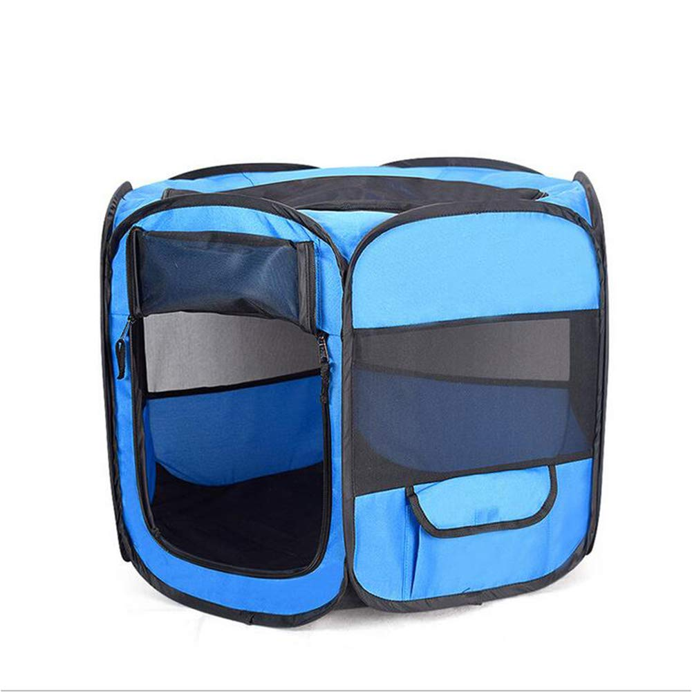 bluee SmallZHENG Cat and dog outdoor cage portable car kennel folding Oxford cloth sixsided pet fence,Red,M