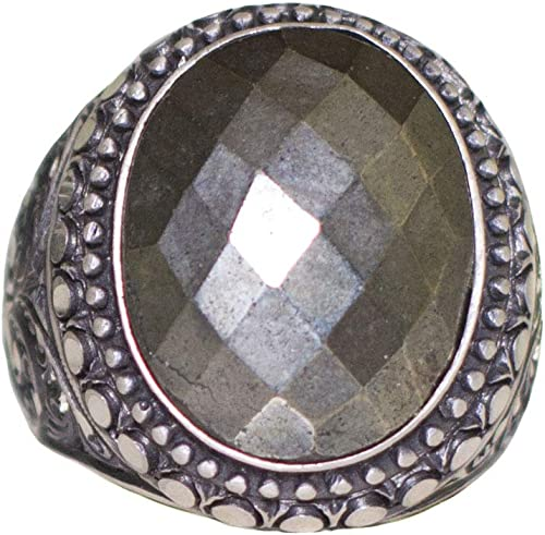 Natural Pyrite Gemstone Steel Pen Craft Falcon Jewelry 925 Sterling Silver Men Ring Free Express Shipping