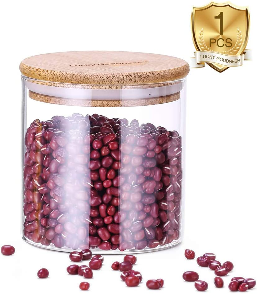 Airtight Glass Food Storage Jar, 600ml (20.3fl oz) Glass Canister Container with Airtight Bamboo Lid