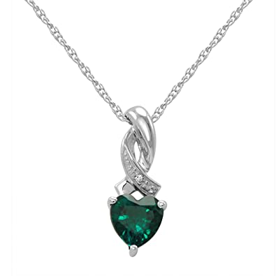 Amazon heart shape created emerald and diamond pendant heart shape created emerald and diamond pendant necklace in sterling silver mozeypictures Images