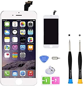 CLWHJ Premium Screen Replacement Compatible with iPhone 6 Plus 5.5 inch Full Assembly -LCD Touch Digitizer Display Glass Assembly with Tools, Fit Compatible with iPhone 6 Plus (White)