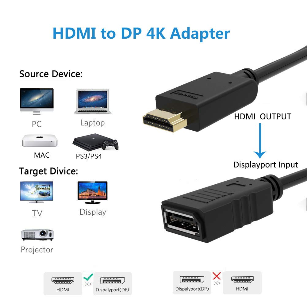 HDMI to DisplayPort Adapter Converter,4K@30Hz,Active HDMI to DP Female Adaptor Lead with Audio,Not Bidirectional,HDMI Source In Display Port Out Adaptador for XBOX One,NS,Mac,PC to Monitor,1080P@60Hz