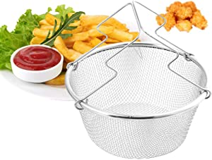 XIANGYANG Frying Basket Oil Strainer Stainless Steel Frying Net Round Basket with Handle Detachable Colander for French Fries Fried Food