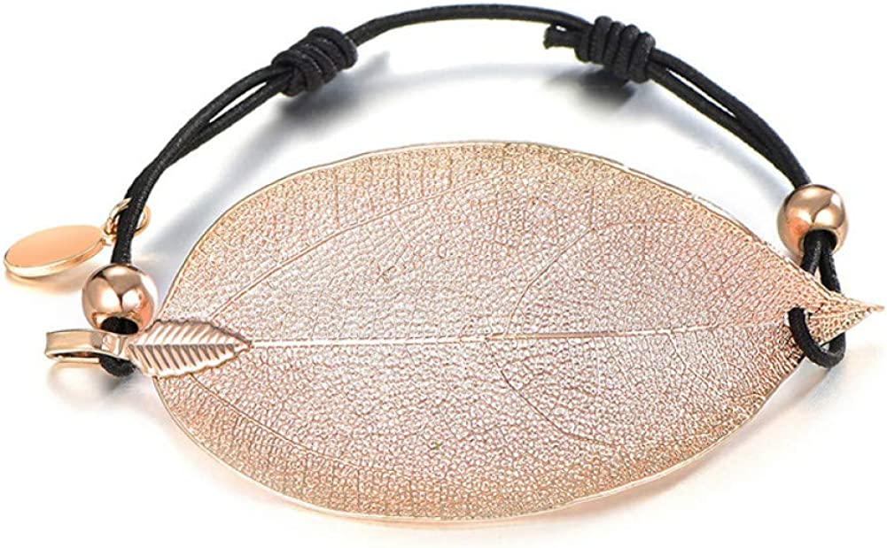 BLINGBRY Diseñador étnico Diamantes de imitación Hoja de Color Dorado Pulseras con dijes Joyería de Cadena de Palomitas de maíz para Mujeres Pareja