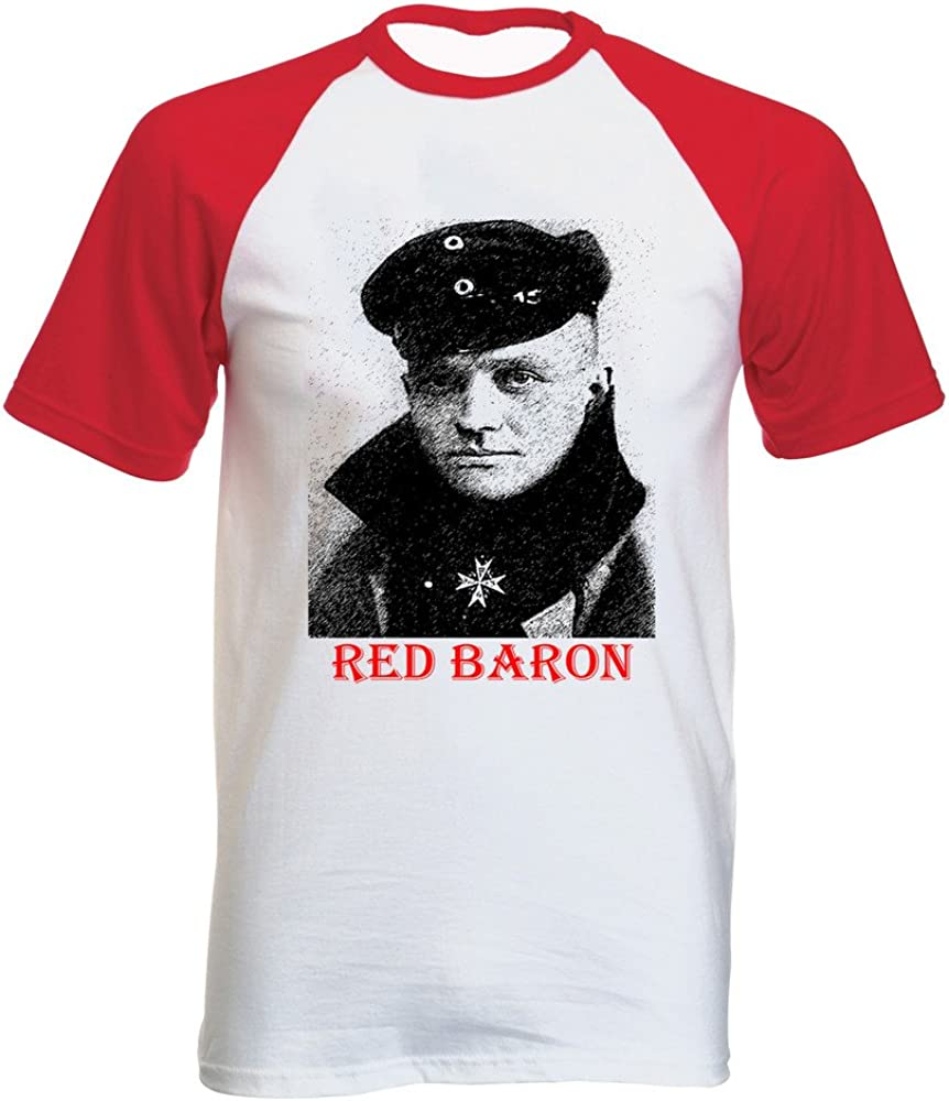 teesquare1st Red Baron Tshirt con Manga Corta roja T-Shirt Size Small: Amazon.es: Ropa y accesorios