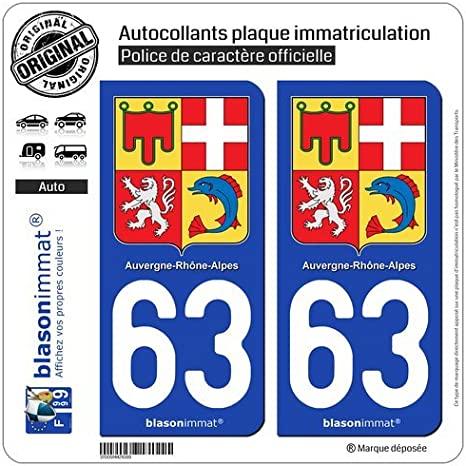 blasonimmat 2 Autocollants Plaque immatriculation Auto 63 Auvergne-Rh/ône-Alpes Armoiries