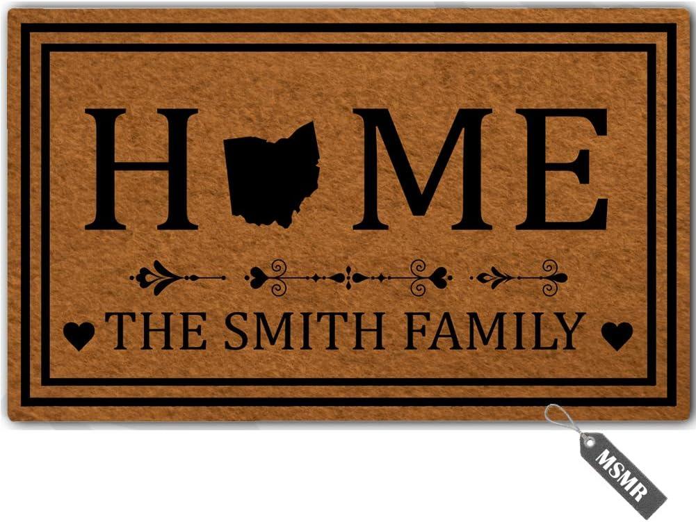 """MsMr Personalized [Your Name] Door Mat Indoor Outdoor Custom Doormat Decorative Home Office Welcome Mat Ohio Door Mat 23.6"""" x 15.7"""""""