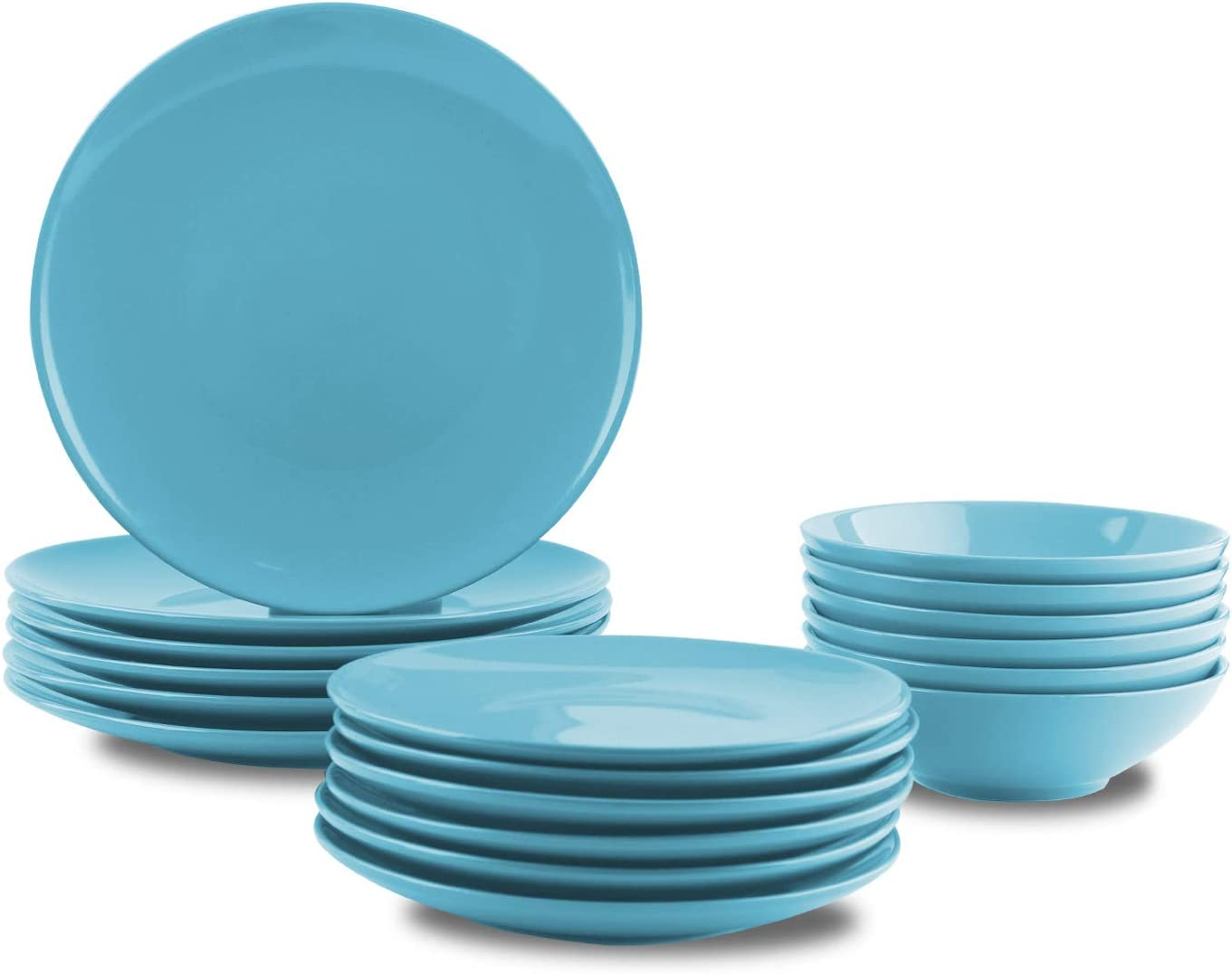 AmazonBasics 18-Piece Stoneware Dinnerware Set - Sky Blue, Service for 6