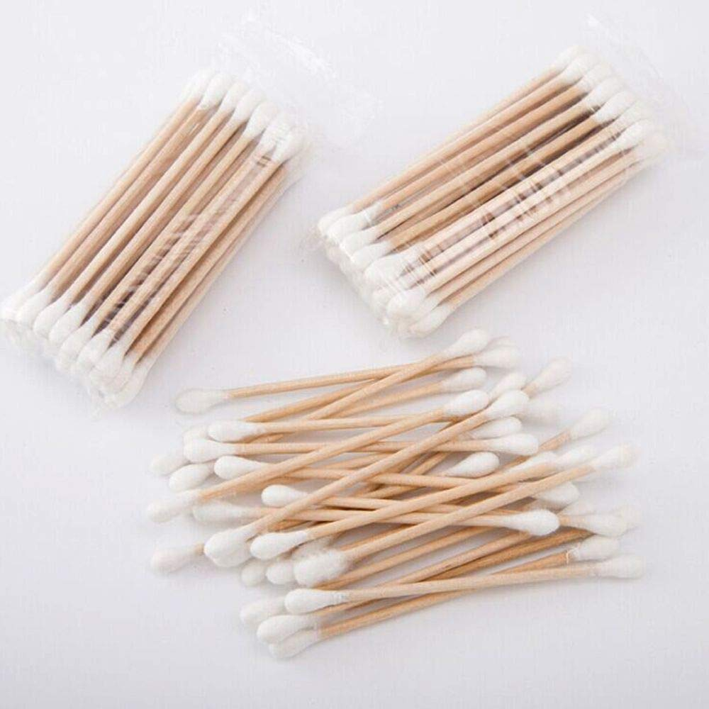 EORTA 350 Count Cotton Swabs Double Tipped Cotton Buds with Wood Handles Disposable Cotton Sticks for Beauty Machine Arts Crafts Cleaning