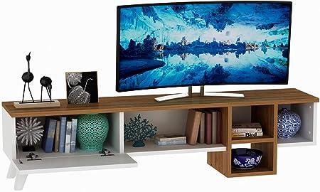 Vivense Ramona - Mueble para televisor (140 cm), Color Blanco y Nogal: Amazon.es: Hogar