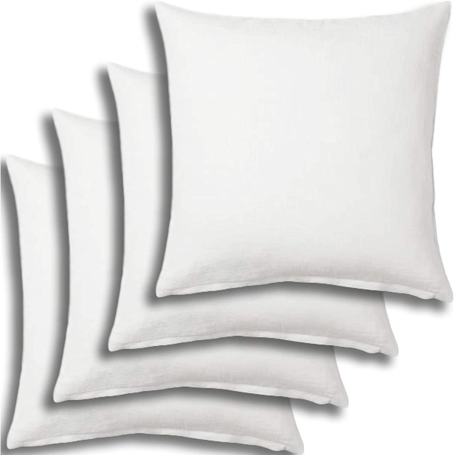 Set of 4 - Pillow Insert 28x28 Decorative Throw Pillow Inserts - Euro Sham Stuffer for Sofa Bed Couch Square White Form 4 Pack - Hypoallergenic Machine Washable and Dry Polyester - Made in USA