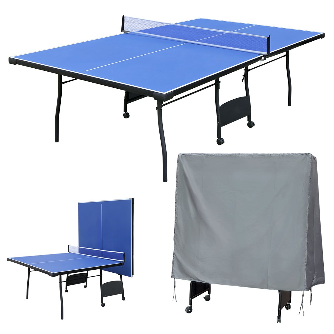 Funmall Folding Table Tennis Table with Waterproof Ping Pong Table Cover