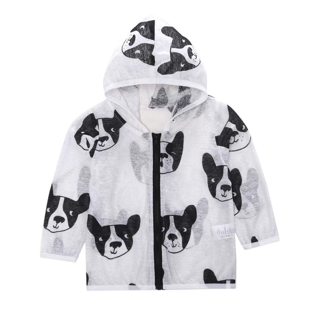 WARMSHOP Baby Jacket Summer Sunscreen Cartoon Dog Print Lightweight Ultrathin Windbreaker Zipper Hooded Outdoor Coat Tops