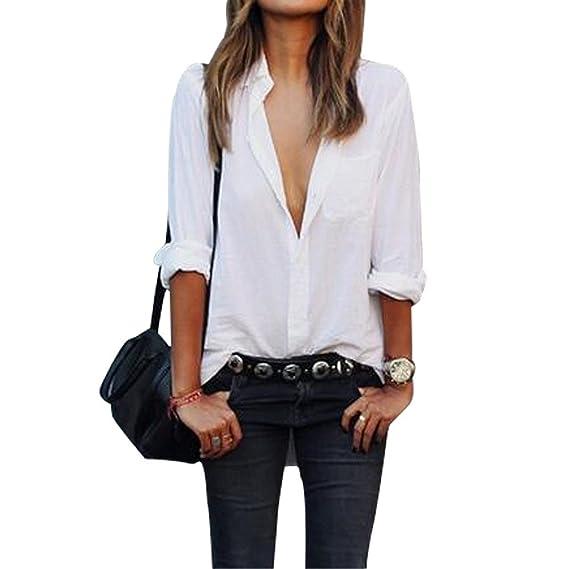 Mine Tom Mujer Moda Mangas Largas Blusa Casual Club Tapas Suelto Camisas Blanco 34