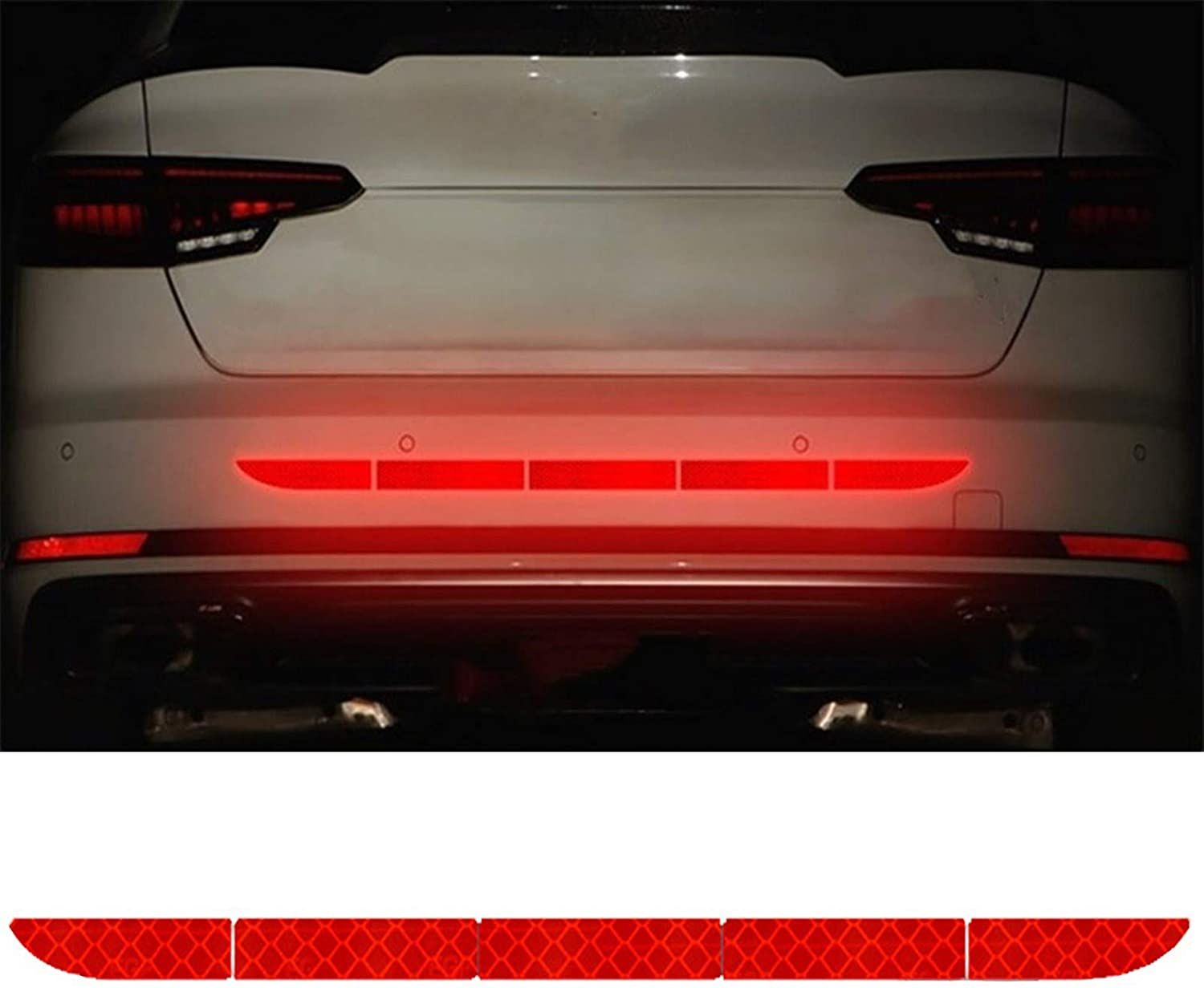 LANZMYAN Reflective Rear Bumper Guard Anti-Scratch Rear Trunk Rear Warning Cover Sticker for Cars SUVs Pickup Trucks Red