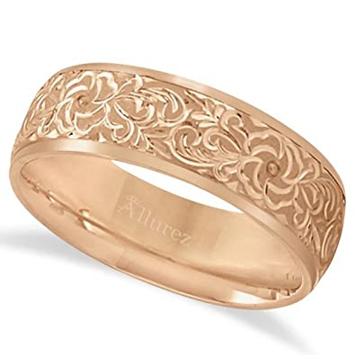 14k Gold Hand Engraved Flower Wedding Ring Band Wide For Men And Women 7mm