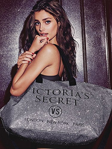 - VICTORIA SECRET LIMITED EDITION VS SILVER GLITTER TOTE WEEKENDER - 2015 PINK
