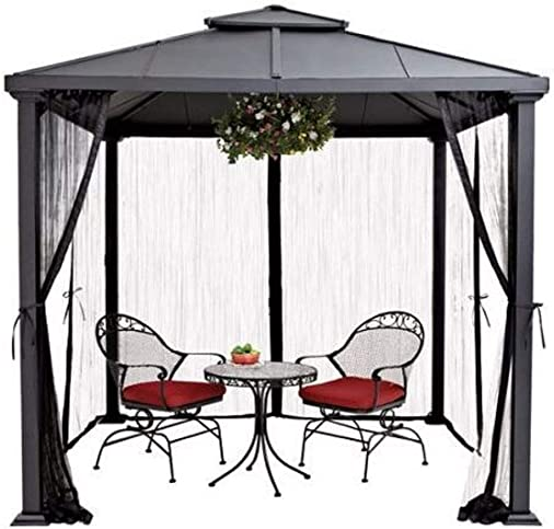 Better Homes and Gardens Sullivan Ridge Hard Top Gazebo with Netting, 8×8