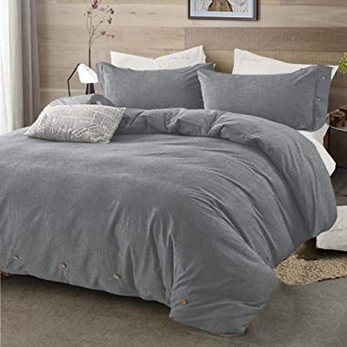 Queen Duvet Cover Set, 100% Wash Cotton 88x88 Soft Breathable Bedding Quilt Comforter Covers with Zip Ties - Solid Modern Mid-century Rustic 3 Piece 2 Pillow Shams 1 Cover for Men Women Bedroom, Gray
