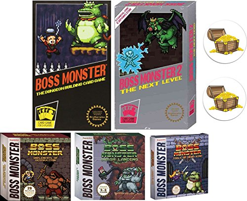 Boss Monster Card Game Bundle with Boss Monster 1 and 2, Implements of Destruction, Crash Landing, Tools of Hero Kind Plus 2 Treasure Chest Buttons by Mixed