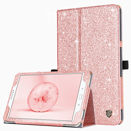 Samsung Galaxy Tab A 10.1 Case,BENTOBEN Slim Lightweight PU Leather Glitter Shiny Stand Smart Folio Cover with Auto Sleep/Wake Feature for Galaxy Tab A 10.1 Inch SM-T580 T585(No Pen Version),Rose Gold