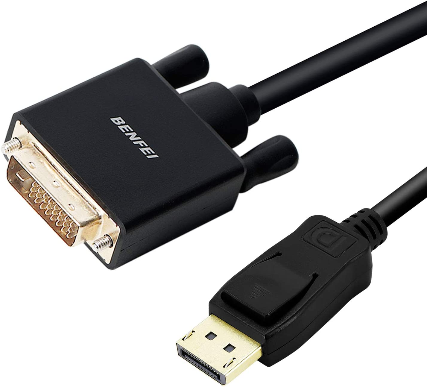 DisplayPort to DVI Adapter, Dp Display Port to DVI Converter Male to Male Gold-Plated Cord 3 Feet Black Cable for Lenovo, Dell, HP and Other Brand