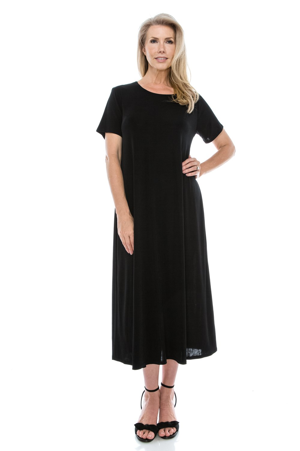 Jostar Stretchy Long Dress with Short Sleeve, Plus Sizes in Black Color in 3XL Size