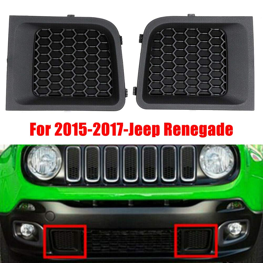 Zqasales Front Bumper Grille Bezel Fit for 15-17 Jeep Renegade,Left Right Front Lower Bumper Grill Grille Bezel Cover