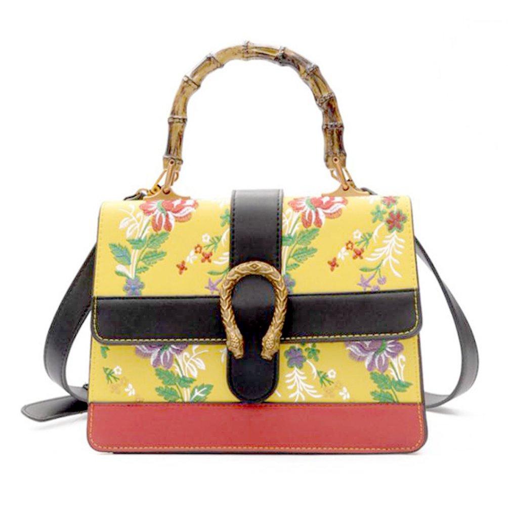Yannuoレディースハンドバッグレザー刺繍バッグ女性かわいいトートショッピングバックパック B07D12SNDF イエロー イエロー