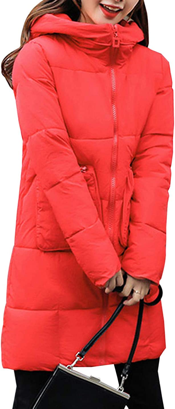 Womens Loose Quilted Puffer Jacket Coat with Hood