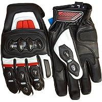 Bikers Gear Australia corto estilo CF63piel Kevlar Knucle Motorcycle Racing–Guantes, color rojo/negro, tamaño: S