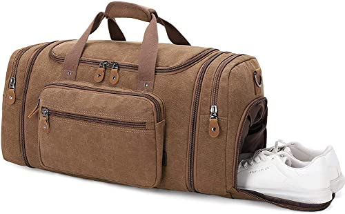 Plambag Travel Duffle Bag with Shoe Compartment 60L Canvas Duffel Overnight Weekend Bag Coffee