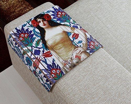 Sofa Tray Table (Turkish Tile Art), Sofa Arm Tray, Armrest Tray, Sofa Arm Table, Couch Tray, Coffee Table, Sofa Table, Wood Tray,Wood Gifts