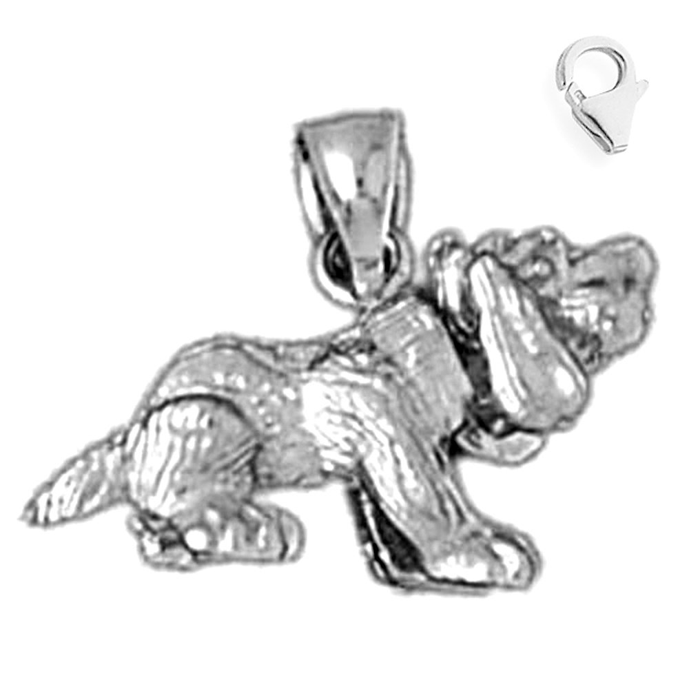 JewelsObsession Sterling Silver 13mm Dog Charm w//Lobster Clasp